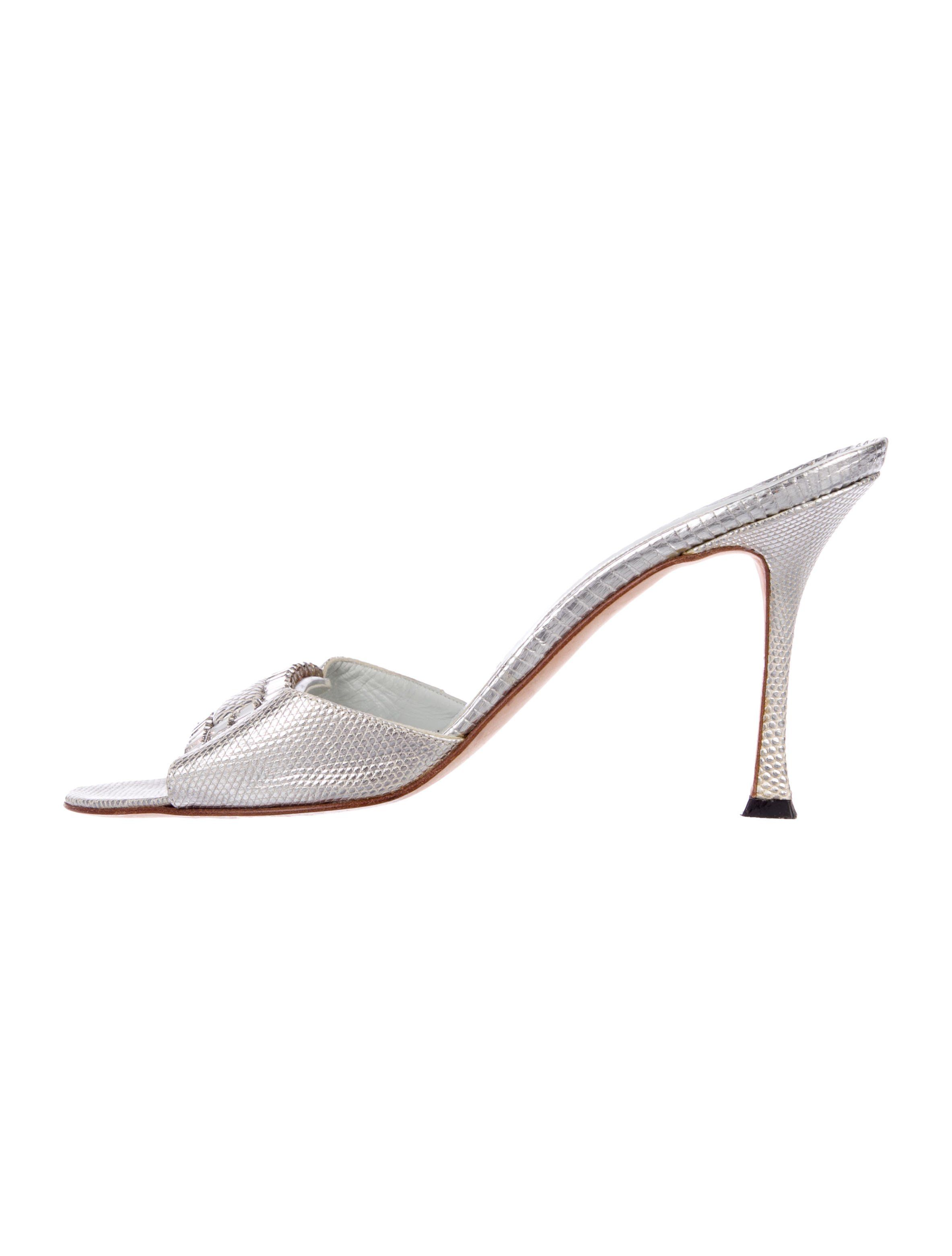 d32eb8b0580 Metallic silver lizard Manolo Blahnik slide sandals with crystal-set buckle  adornment at vamps and