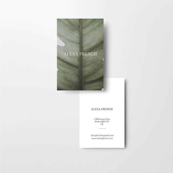 50 Luxury Printed Business Card Minimalist Uncoated or Laminated Leaf Theme Greenery Tropical Natural / custom business cards