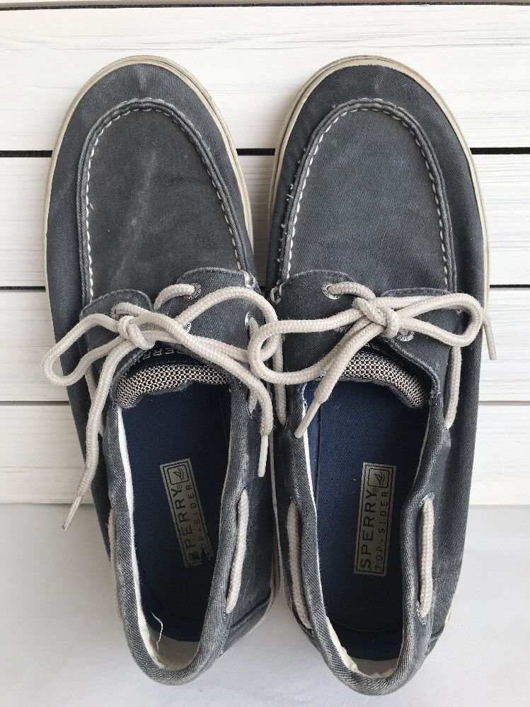 Sperry Top Sider Mens Defender 2 Eye Gray Boat Shoes Size 10 5m