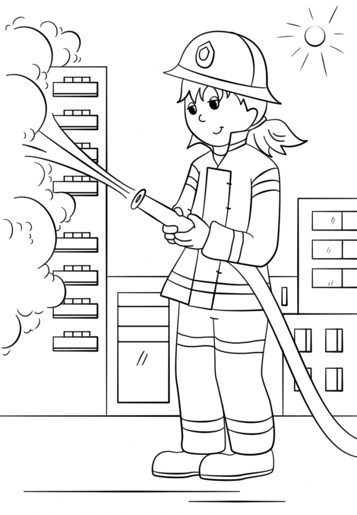 Firefighter Coloring Page Firefighter Clipart People Coloring Pages Truck Coloring Pages