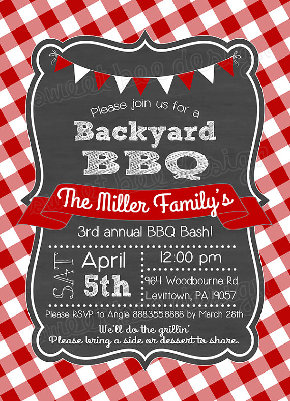 Keep the chalkboard, ribbon and flags, nix the red and white - family reunion flyer