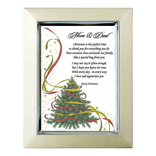 Christmas Gift for Mom and Dad - Sweet Poem for Parents on 5x7 Inch