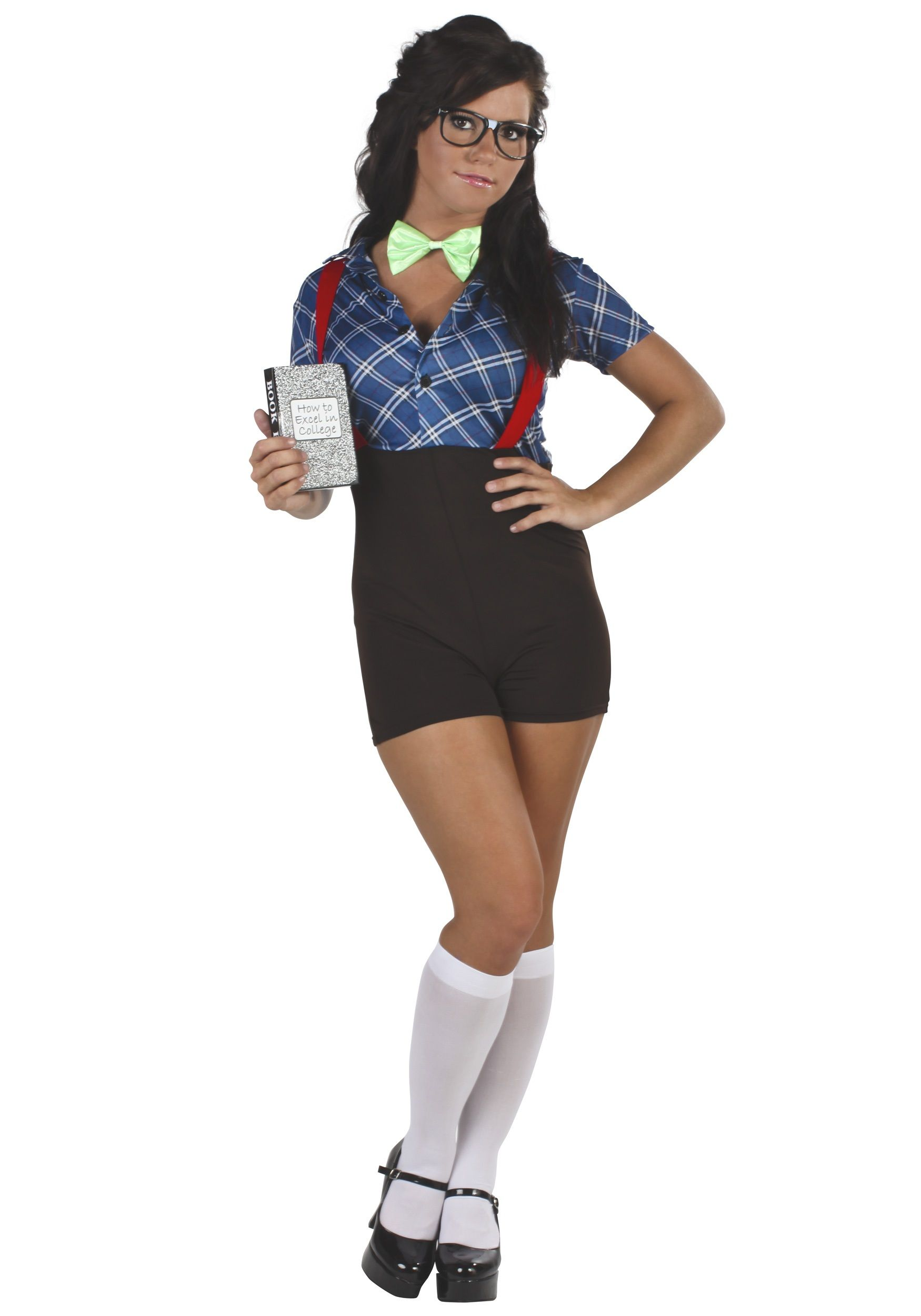 get this sexy school girl nerd costume as a funny halloween costume idea be a cute dork in this sexy nerd costume for women