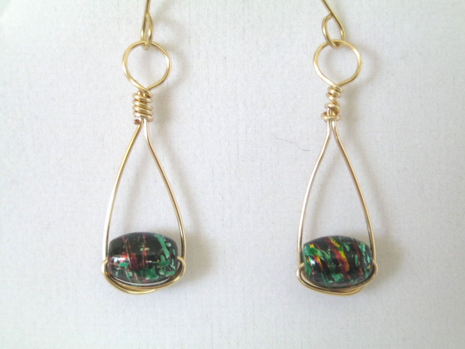 Wire Wrapped Teardrop Earrings  Gold Black Hoop by 2012BellaVida, $12.00