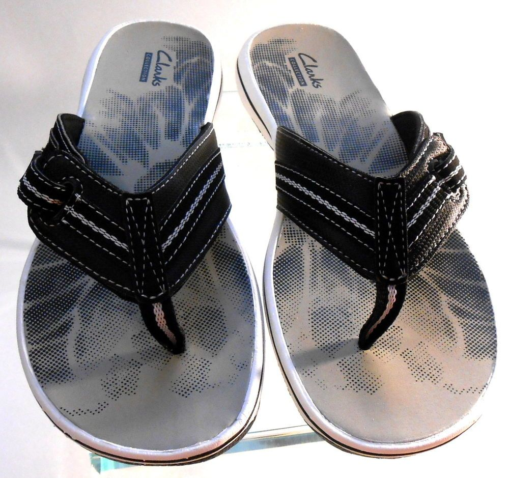 d791be5afb48 Womens Clarks Brinkley Jazz Flip Flop Sandals Black Noir New with Box Size  9 M