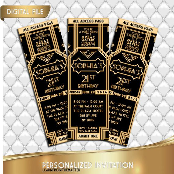Great Gatsby Invitation Ticket Birthday Prom Glitter Gold 1920s Wedding Personalized Black And