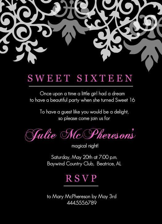 Pin By Katie Webb On 16th Sweet 16 Invitations Birthday