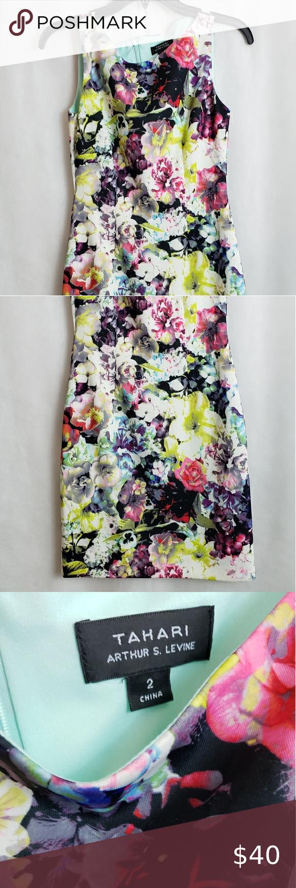 Tahari by  Arthur Levine  Multicolor Floral Sheath Look fabulous wearing thisT...#arthur #fabulous #floral #levine #multicolor #sheath #tahari #thist #wearing