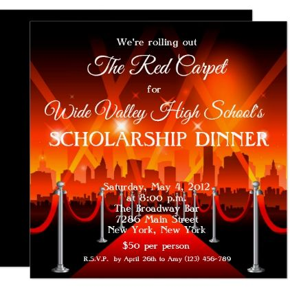 Red Carpet Hollywood Fundraiser Gala Invite  Party Gifts And