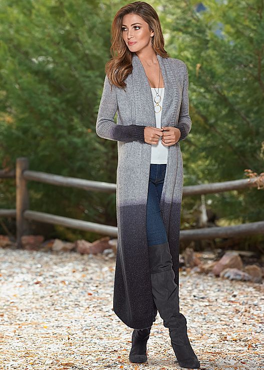 DIP DYE DETAIL DUSTER, SEAMLESS CAMI, COLOR SKINNY JEANS, OVER THE KNEE BOOT…