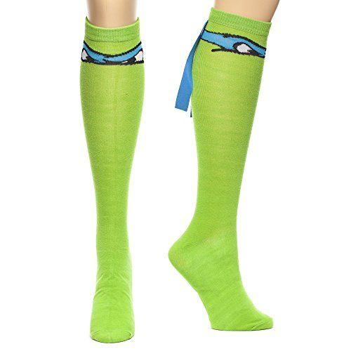 4289a3cd59b TMNT Teenage Mutant Ninja Turtles Leonardo Blue Mask Knee High Socks  Bioworld http