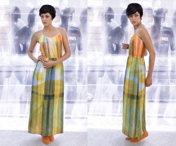 Maxi silk dress Maxi printed dress Maxi by AnaLivniSlowFashion