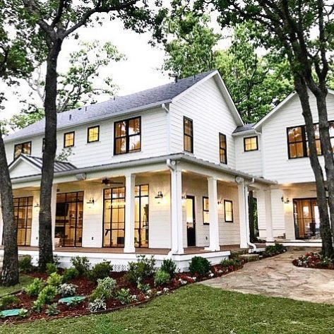 white house with dark black windows trim wrap around porch with rh pinterest com