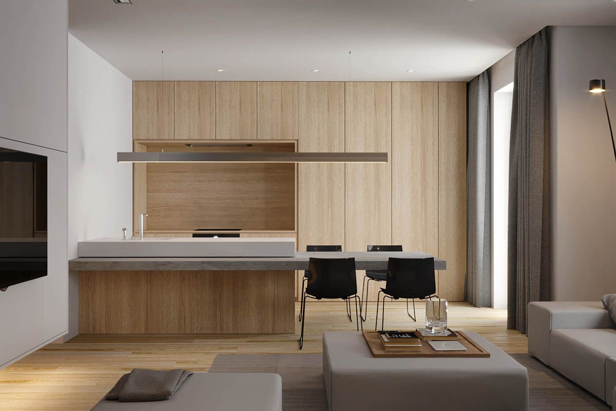 2 single bedroom homes with warming wood tones kitchen for Single kuchenzeile