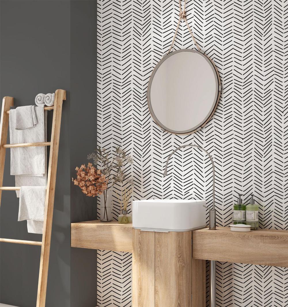 Minimalist Removable Wallpaper Chevron Wallpaper Modern Wallpaper Peel And Stick Wallpaper Self Adhesive Wallpaper 033 In 2020 Bathroom Wallpaper Bathroom Decor Chevron Wallpaper