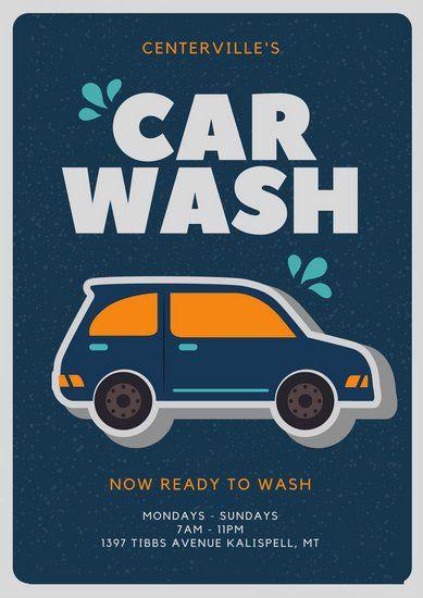 Illustrated Car Blue Car Wash Poster Flyer Poster Car Wash