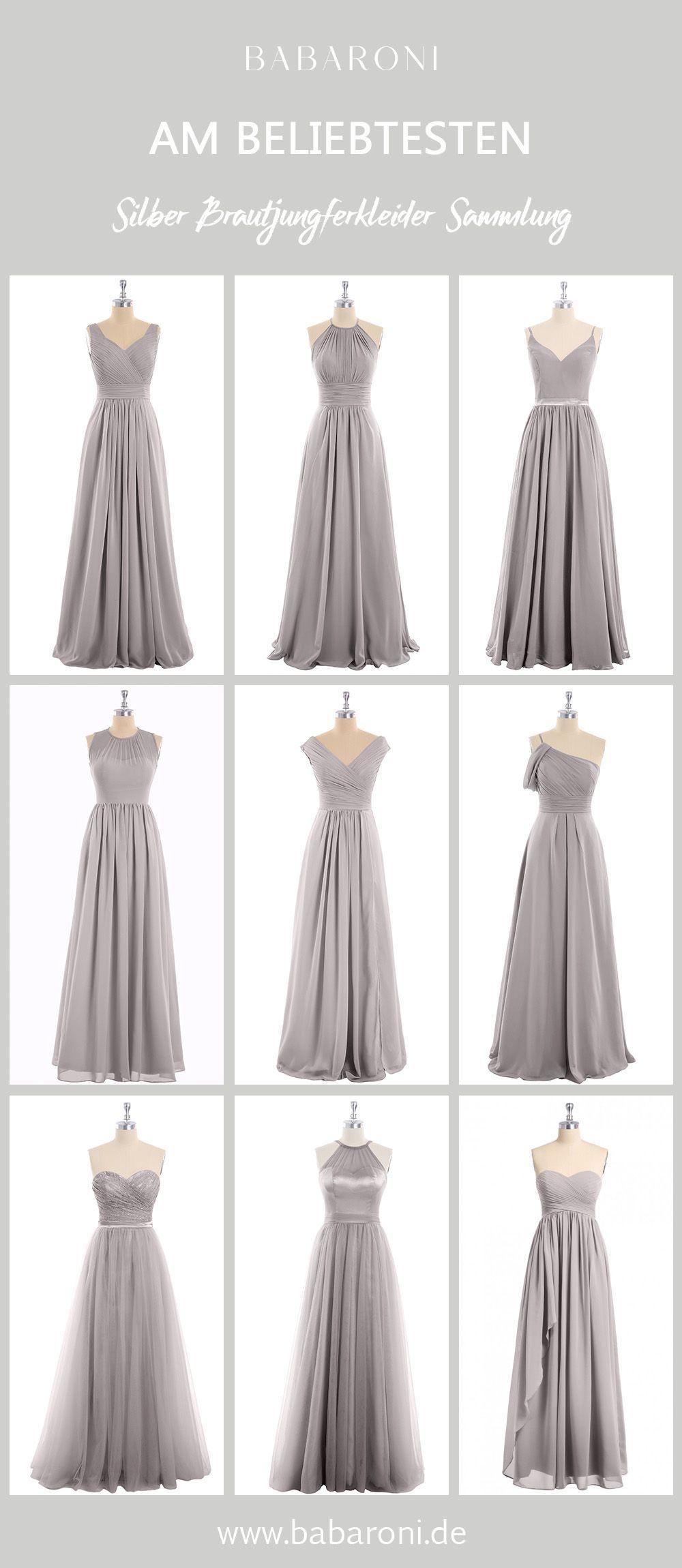Silber Brautjungfernkleider  Elegante brautjungfernkleider