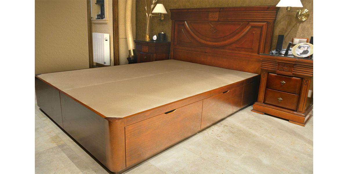 Dormitorio clásico con canape de madera con cajones | Camas ...