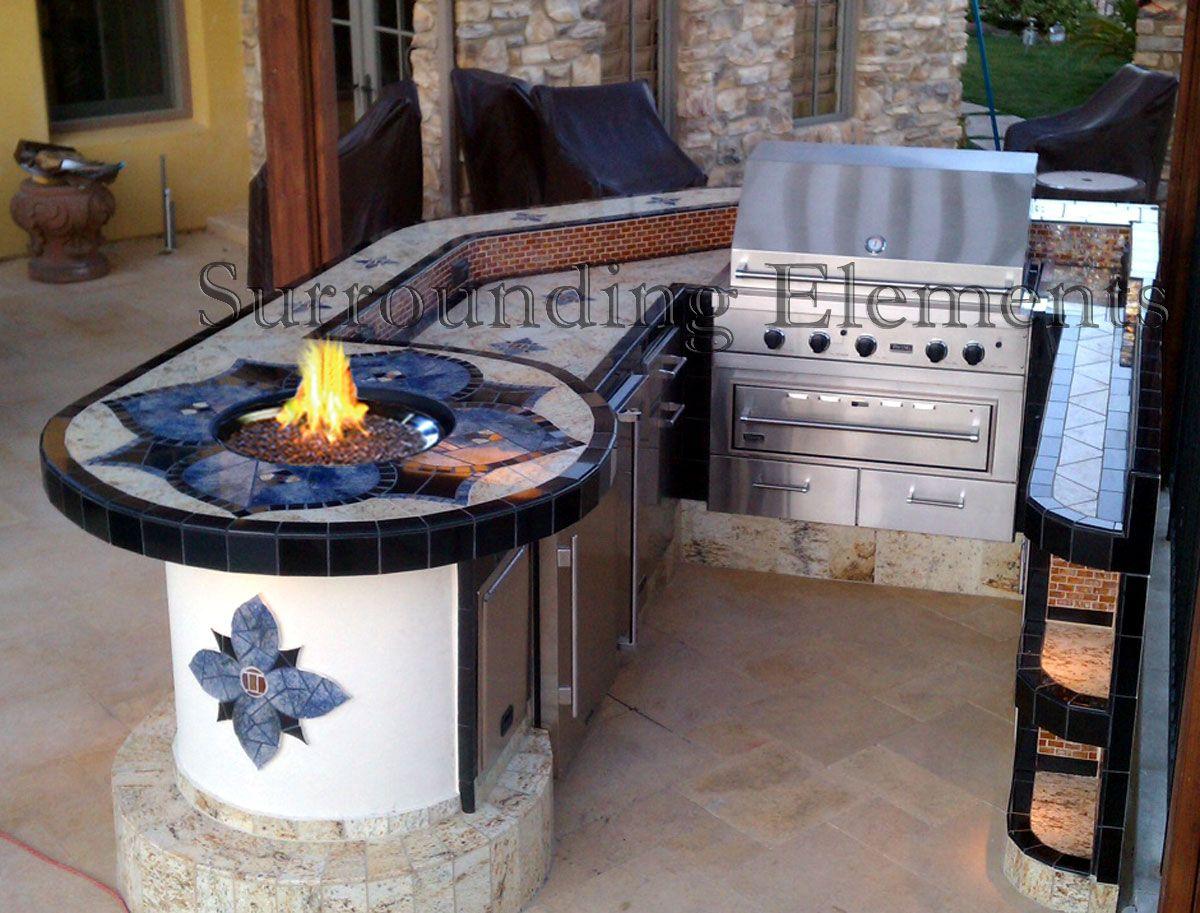 U Shaped Bi Level Island With Alcoves Bbq Storage Doors Fridge And Fire N Ice Burner Item Isl64 Outdoor Cooking Custom Backyard Outdoor Remodel Bbq Island