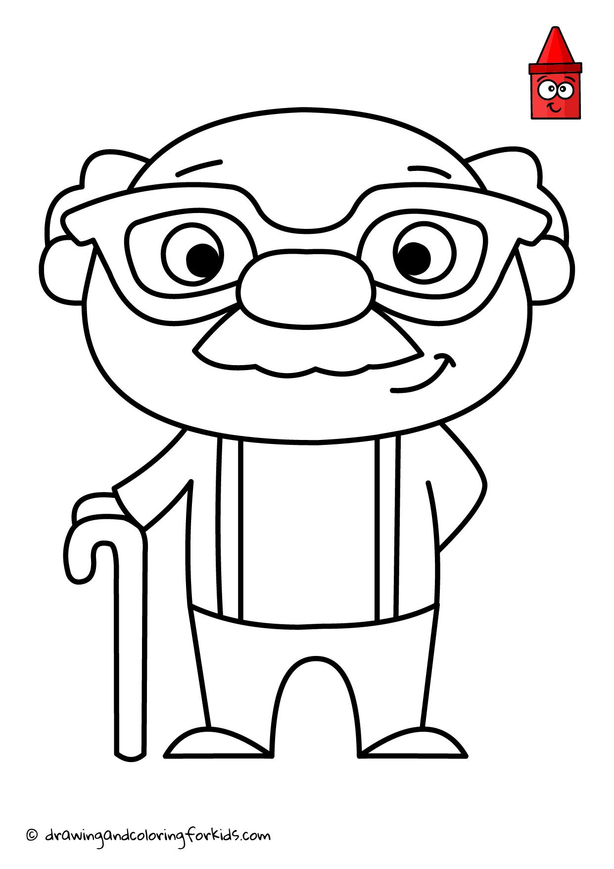 Grandpa Drawing | Drawing Grandparents | Funny Grandfather ...