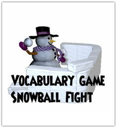 Snowball fight vocabulary game. Keep the game limited to concept vocab. or teacher selected words. Each student has two sheets of paper, one to write a vocab word and the other to write the definition. Crumble up the papers and have a snowball fight for a set time (30 seconds) then have students match snowballs.