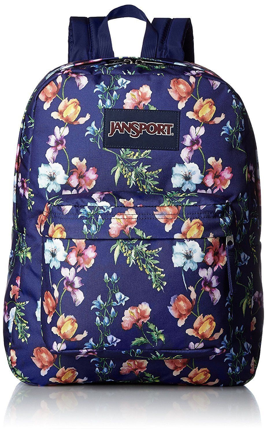 Jansport Superbreak Backpack ( T501 ) - Multi Navy Blue mountain Meadow 9f5beb90e7