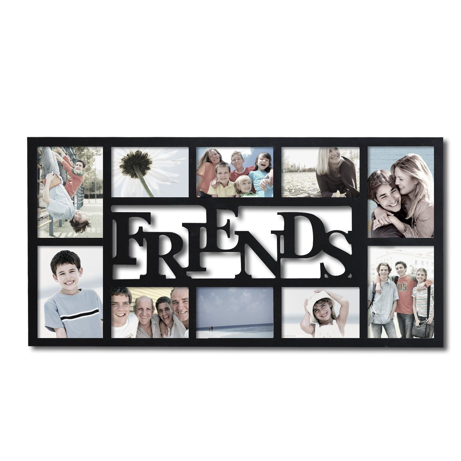 Adeco Friends Black Wood 10 Opening Collage Photo Frame Hanging Picture Frames Family Wall Collage Collage Picture Frames
