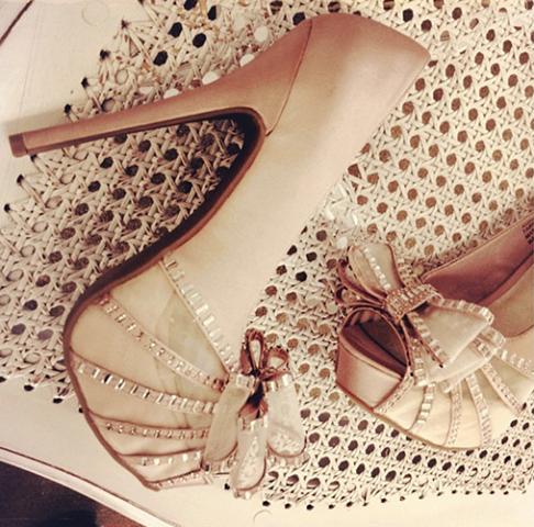 elegant white rhinestone bowtie high heel shoes  strappy