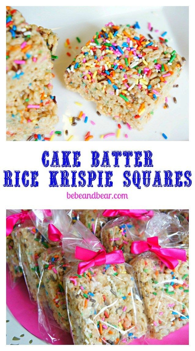 Cake Batter rice Krispie Squares - Bebe and Bear