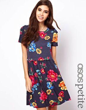 311011cad89 ASOS PETITE Smock Dress in Bright Floral Print