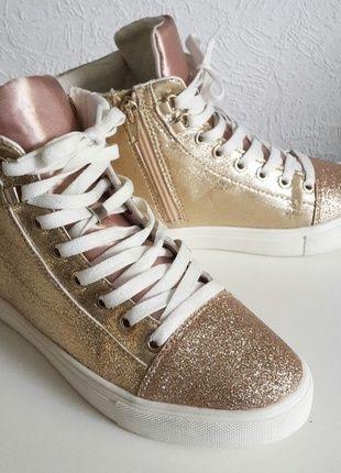 H&M Sneakers Gr. 38 Rose Gold Glitzer | Schuhe damen