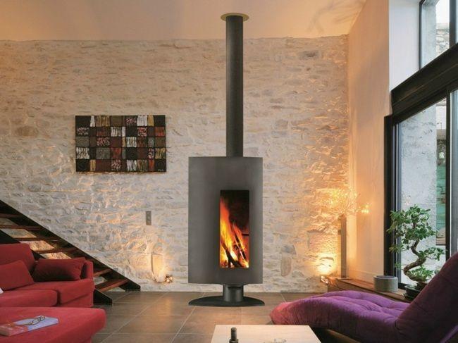 Wohnzimmer Steinwand rustikal Holz cuisinière Pinterest Fire - wohnzimmer design steinwand