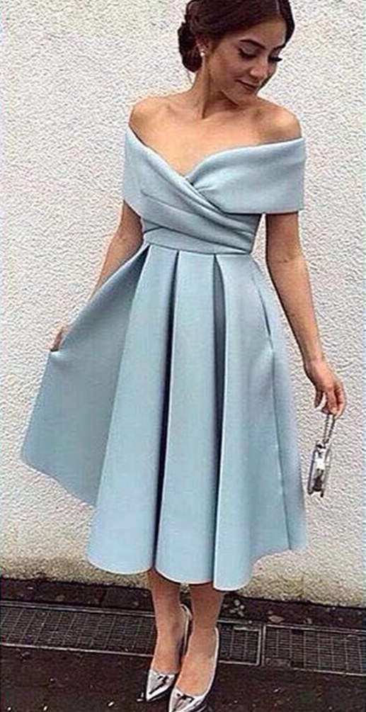 1fcccde3f92 Blue Off-the-Shoulder A-line Midi Evening Dress Satin Short Prom ...