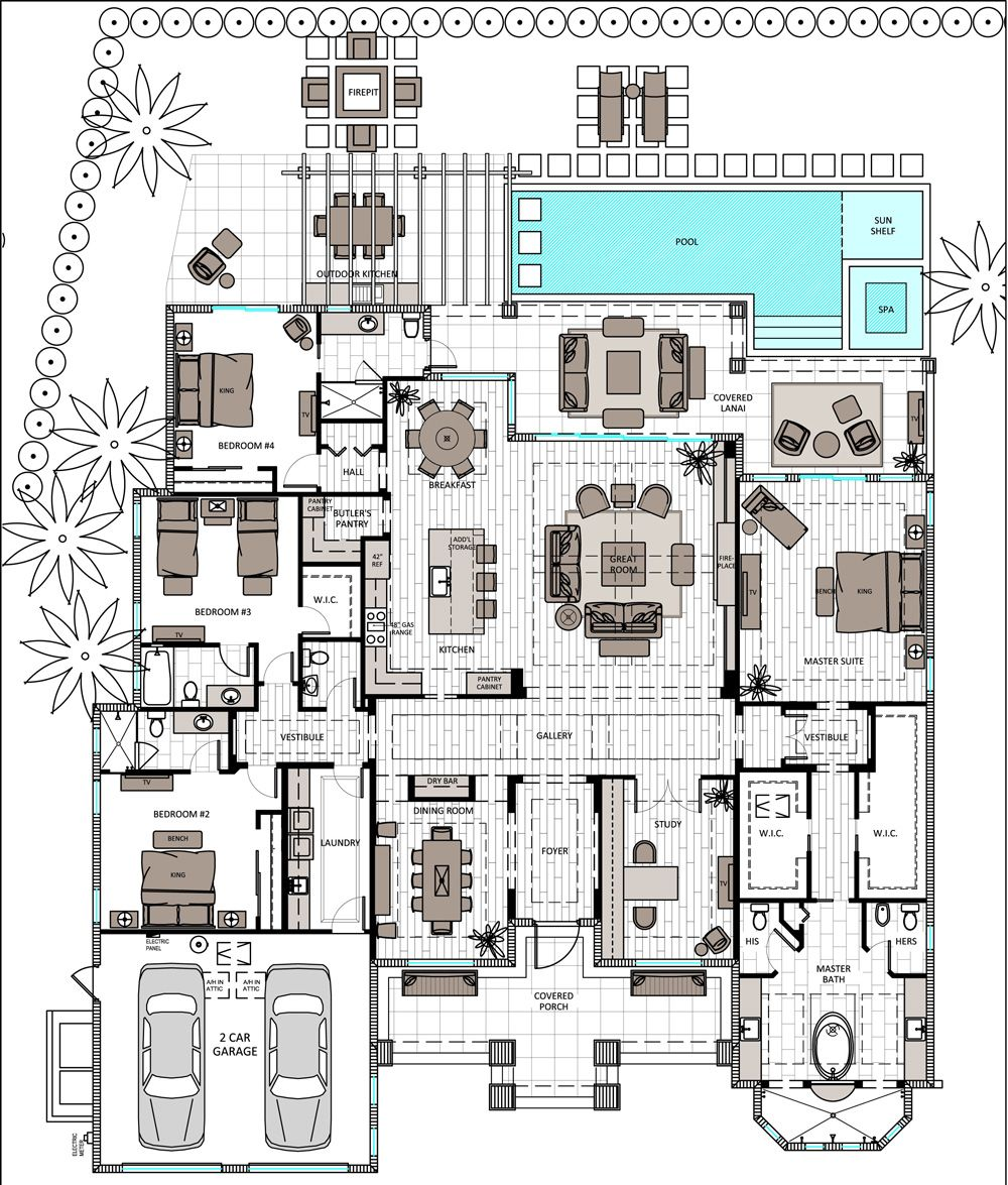 Single Story 3 Bed With Master And En Suite Open Floor Plan Mansion Floor Plan Floor Plans Pool House Plans