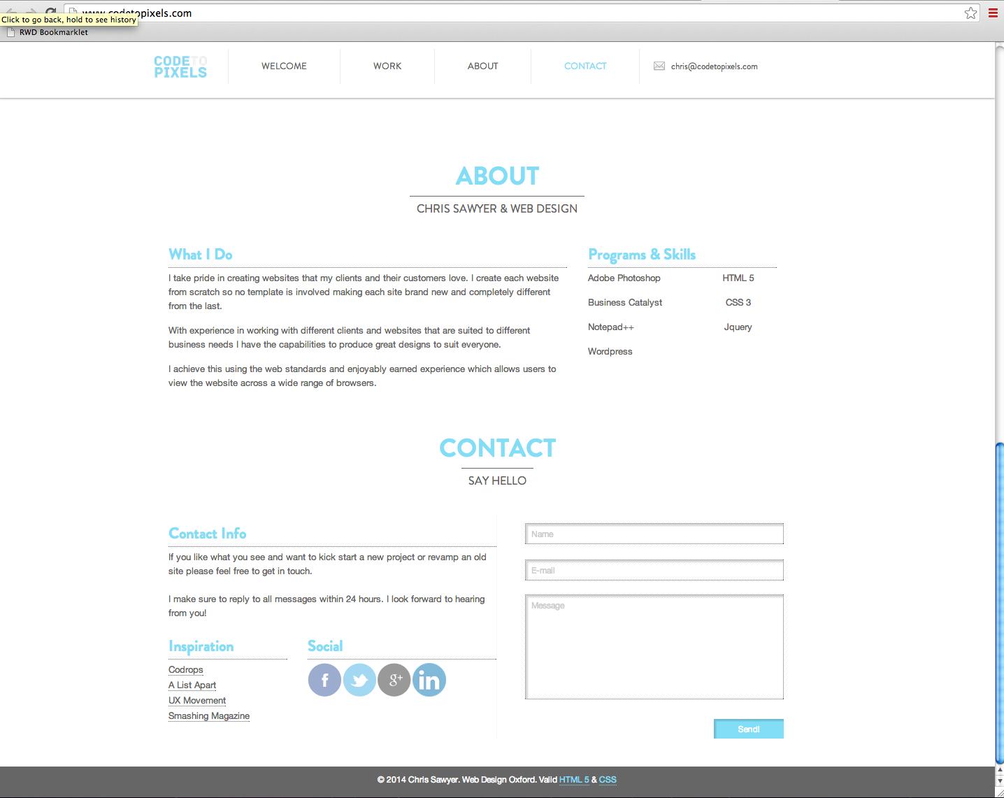 About/Contact Codetopixels (portfolio) Layout of
