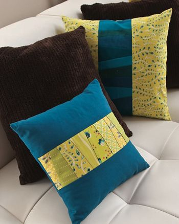 Stripe of Strips Pillow - free pdf pattern    or do ruched middle section instead of quilting