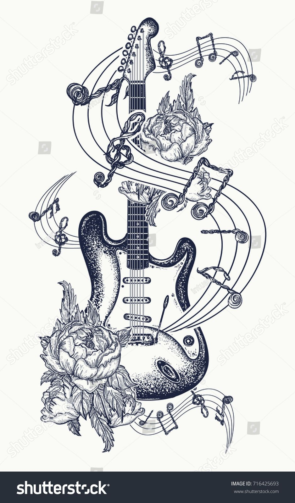 Guitar Tattoo Electric Guitar Roses And Music Notes Rock And Roll