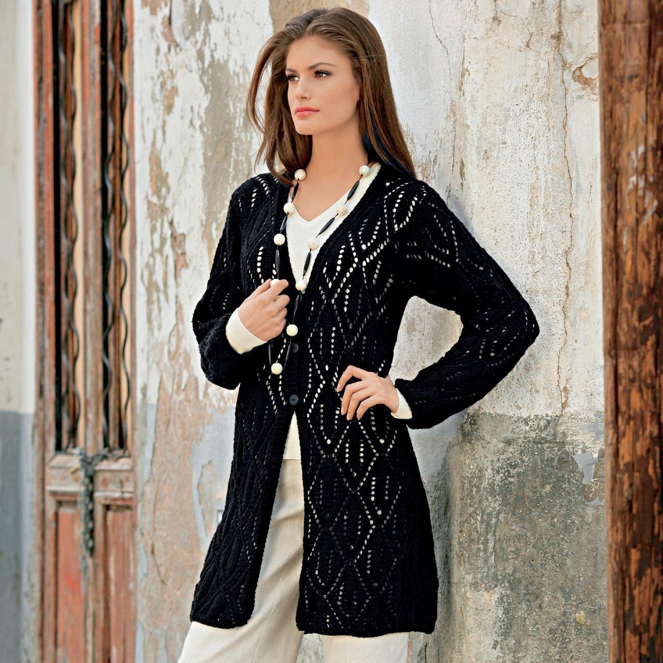 modell 168 9 lochmuster jacke aus revue von junghans wolle gro e gr en strickmodelle. Black Bedroom Furniture Sets. Home Design Ideas