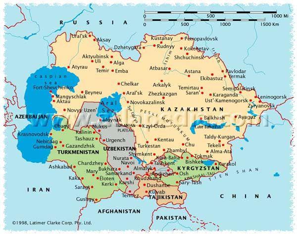 Political Map Of Kazakhstan, Uzbekistan, Turkmenistan, Tajikistan, Kyrgyzstan