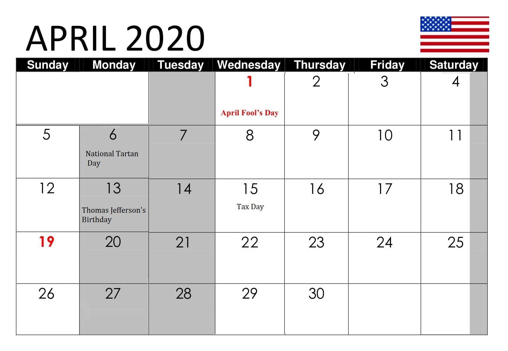 April 2020 Calendar With Holidays Usa Uk Canada India