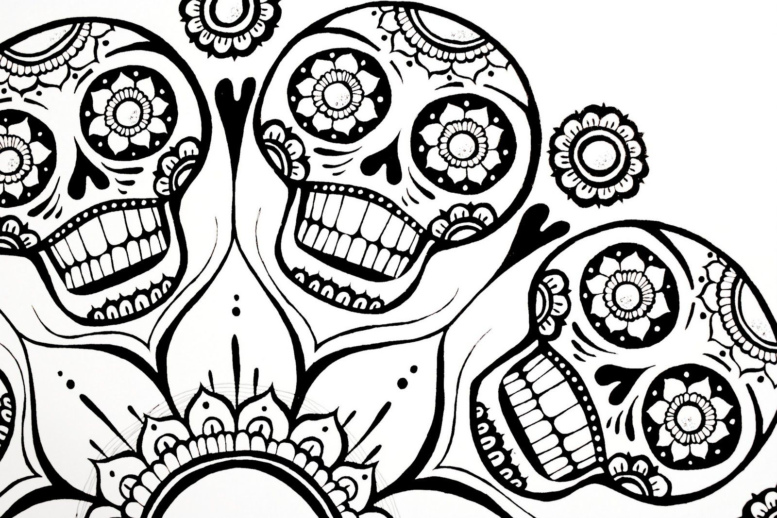 Sugar Skulls Coloring Pages | Coloring Pages Gallery | randoms ...