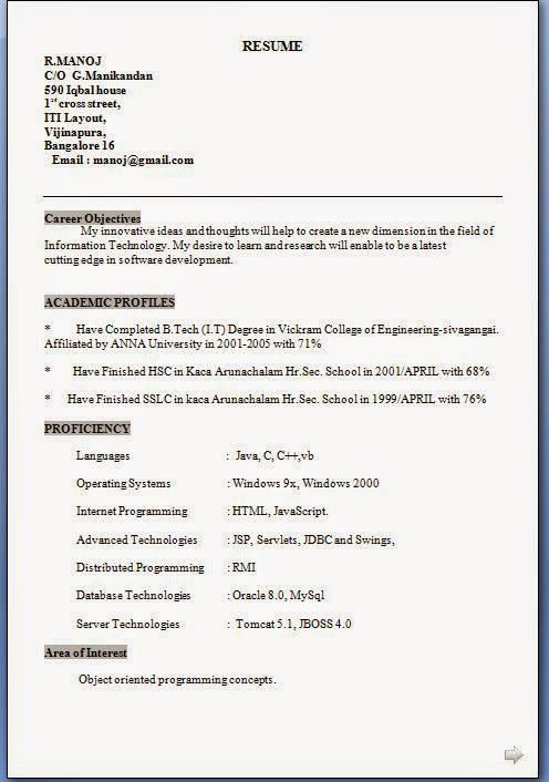 free sample resumes Excellent CV   Resume   Curriculum Vitae with - free sample resumes for freshers