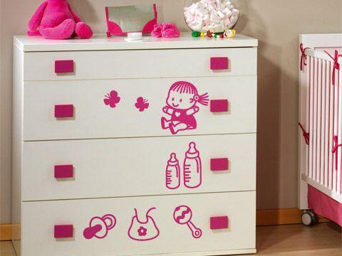 Pack beb ni a vinilo decorativo peque os vinilos for Stickers habitacion nina