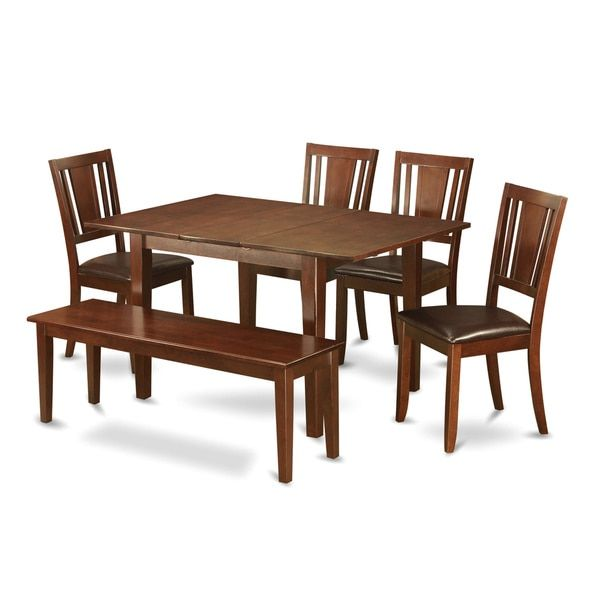 brown rubberwood 6 piece dining table set with bench for the home