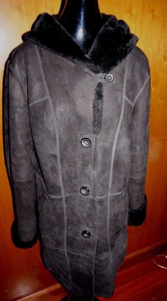 1517d0d1f695c Wolff of Canada Black SHEARLING Hooded Sheepskin Coat Jacket SZ Medium Women   WolffofCanada  HoodedJacket