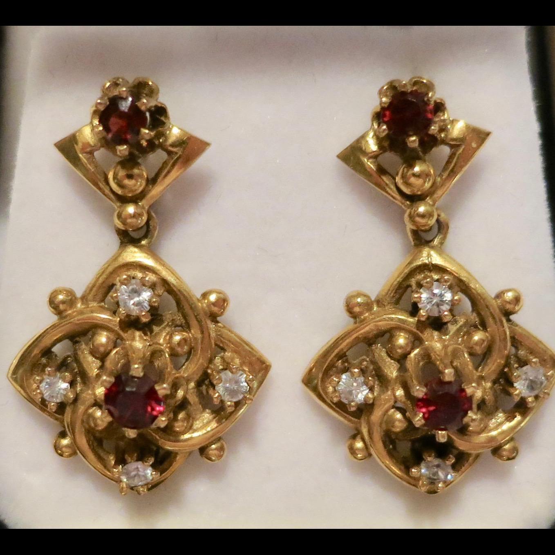 Immaculate Victorian 14K Gold Dangle Earrings at rubylane ...