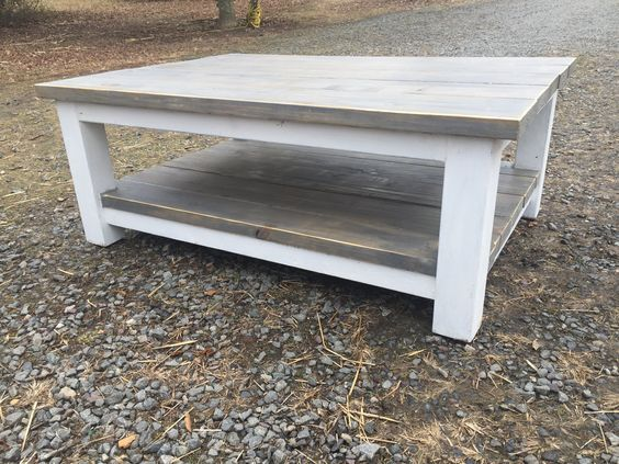 Large Farmhouse Coffee Table Stained Classic Grey with white legs