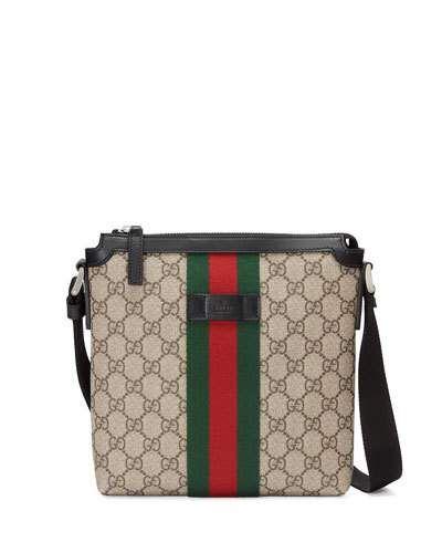7f6ef2f6d734 Gucci GG Supreme Web Small Zip-Top Crossbody Bag, Light Beige ...