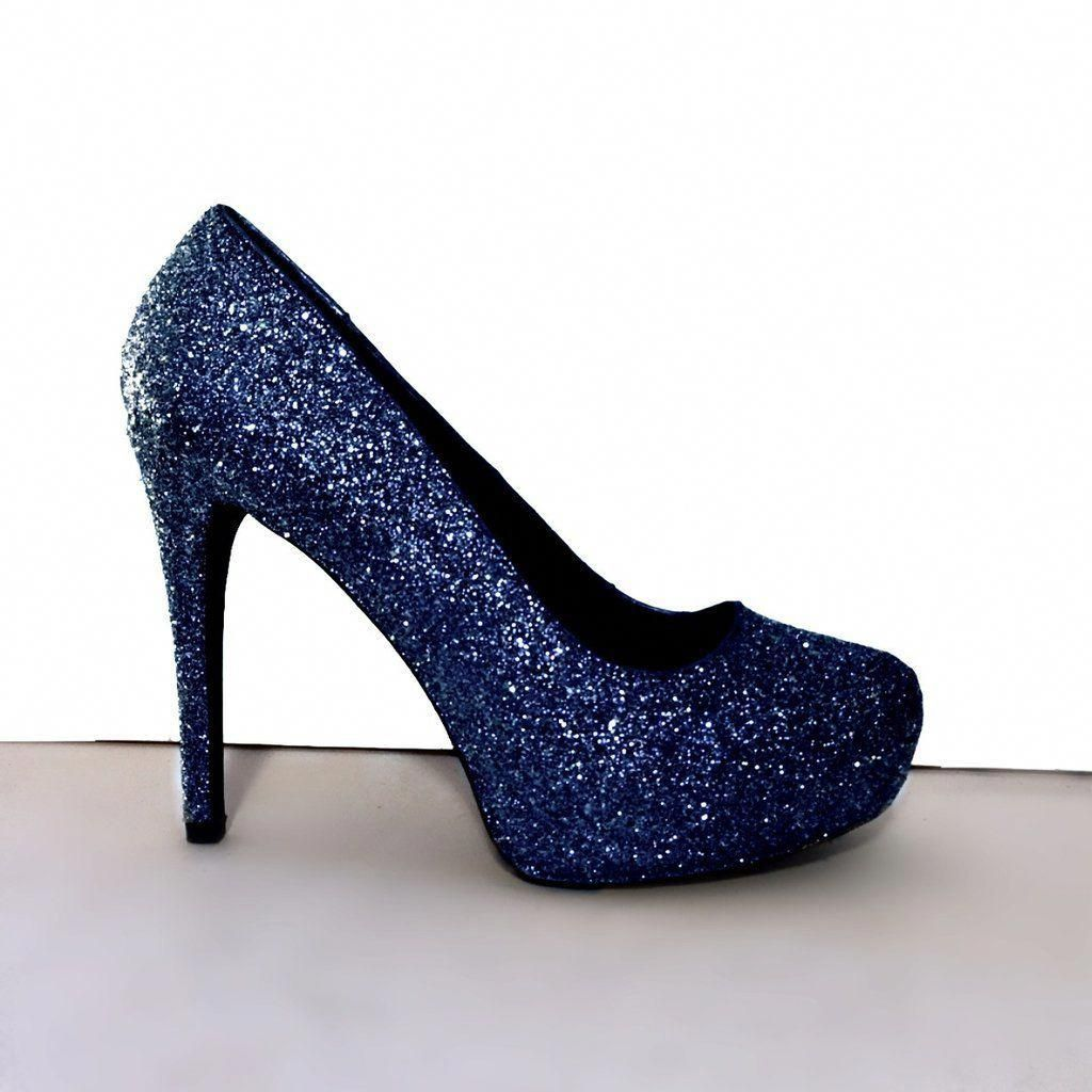 ... newest ... free shipping ec28e 4faec Womens Sparkly Navy Blue Glitter  Pumps Heels shoes ... 08c4c0b6e50a