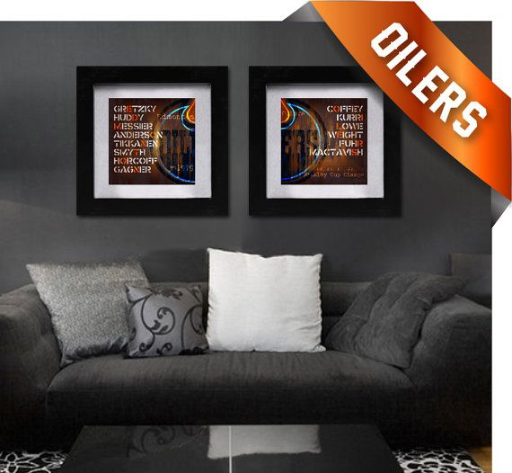 Edmonton Oilers Dynasty Combo Neon Art Prints by RetroLeague, $39.50
